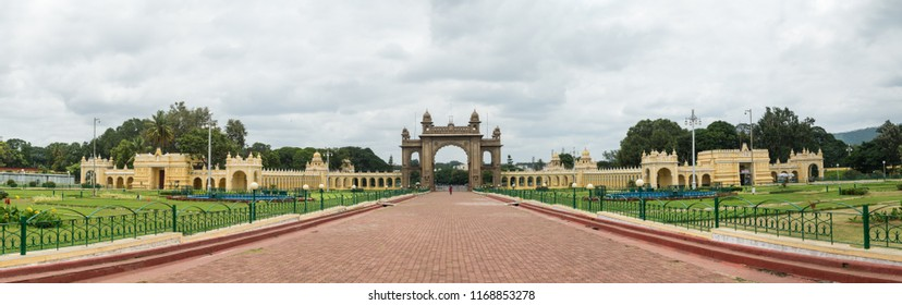 MYSORE, INDIA - Aug, 2018 - Panoramic  view of main gate building of beautiful historic Ambavilas Palace also known as Mysore Palace in Mysore, Karnataka, India on Aug 24-2018