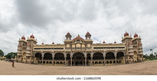 MYSORE, INDIA - Aug, 2018 - Panoramic view from main gate side of beautiful historic Ambavilas Palace in Mysore, Karnataka, India on Aug 24-2018