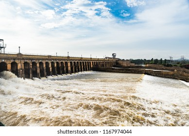 MYSORE, INDIA - Aug, 2018 - View of  Krishna Raja Sagara Dam - A Historic dam in  Mysore, Karnataka,  India on Aug 24-2018