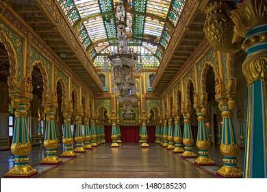 MYSORE, INDIA - August 21 2017: Colorful ornate interior halls of royal Mysore Palace, Karnataka, India