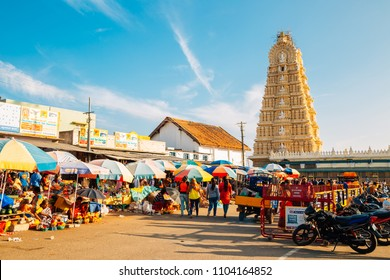 Mysore, India - December 30, 2017 : Sri Chamundeshwari Temple and street market