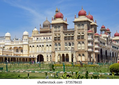 MYSORE, INDIA - FEBRUARY 1 2016: Mysore Palace was the former seat of the royal family of Mysore who ruled the princely state from 1399 to 1950 and present building was completed in 1912.