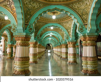 MYSORE, INDIA - January 11 2018: Colorful ornate interior halls of royal Mysore Palace, Karnataka, India