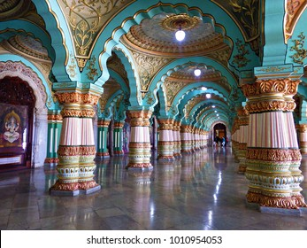 MYSORE, INDIA   January 2015: Colorful Ornate Interior Halls Of Royal  Mysore Palace,