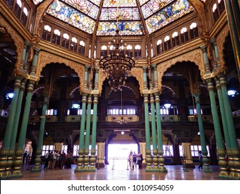 MYSORE, INDIA - January 2015: Colorful ornate interior halls of royal Mysore Palace, Karnataka, India