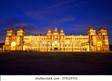 MYSORE, INDIA - JANUARY 31 2016: Mysore Palace was the former seat of the royal family of Mysore that ruled the princely state from 1399 to 1950 and present building was completed in 1912.