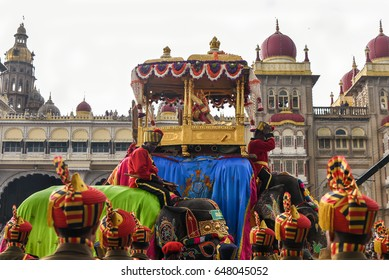 MYSORE, INDIA - OCTOBER 2016 :Parade or procession on Dussehra or Dasara festival Military guardsmen marching at Mysore Palace on October 11, 2016 Karnataka, India.