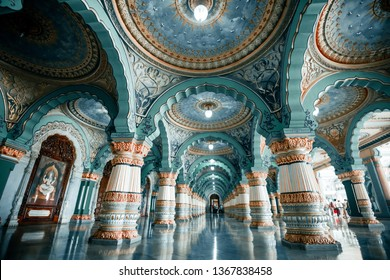 MYSORE, INDIA-August 19 2018: Colorful interior halls of royal Mysore Palace. Mysore Palace is a historical palace and a royal residence at Mysore in the Indian State of Karnataka.  Karnataka, India