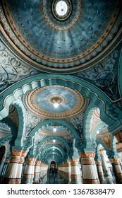 MYSORE, INDIA-August 19 2018: Colorful interior halls of royal Mysore Palace. Mysore Palace is a historical palace and a royal residence at Mysore in the Indian State of Karnataka.  Karnataka, India