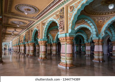 MYSORE, KANATAKA, INDIA - 19 JANUARY, 2019: The Mysore Palace has more than 6 million annual visitors. After the Taj Mahal, it is now one of the most famous tourist attractions in India.