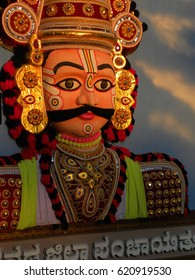 Mysore, Karnataka, India - Jan 1, 2009 Huge colorful tableaux statue of a Yakshagana male dance character, performer with big eyes, eyebrows and moustache at Mysore Dasara procession