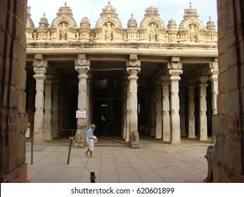 Mysore, Karnataka, India - June 14, 2008 Yellow color temple top and white color pillars of Sri Ranganathaswamy Temple at Srirangapatna