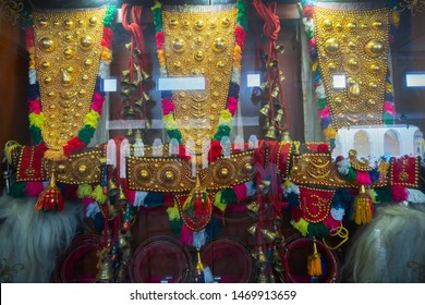 Mysore, Karnataka, India - November 25th 2018 : Gold plated elephants ornaments , made by artisans, for elephants participating in Dasara festivities of Mysore. Elephants are big attraction in Dasara.