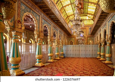 MYSORE, KARNATAKA, INDIA - OCTOBER 21, 2018: Mysore Palace, a historical palace and royal residence located within the Old Fort area of Mysore (Mysuru), and a popular tourist destination.