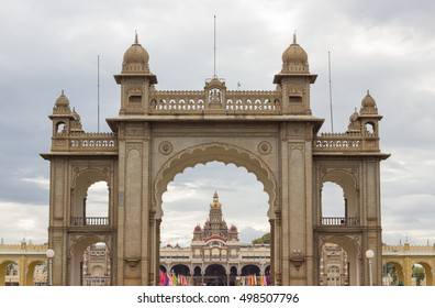 Mysore Palace entrance on cloudy day. Traditional Indian architecture in Karnataka state, India. Touristic destination concept