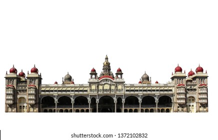Mysore Palace isolated on white background. It is a historical palace in the Indian State of Karnataka.