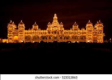 Mysore palace at night, Karnataka state, India