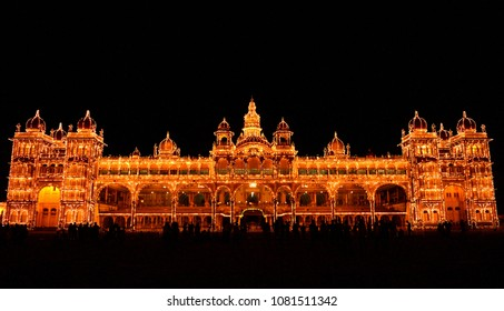 Mysore Palace at Night, Mysore, Karnataka Tourism