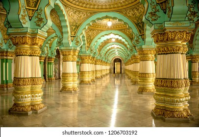 Mysore/Karnataka/India/9/6/2018, Mysore Palace, Beautiful Indian Traditional Architecture of Mysore Royal Palace Inside View