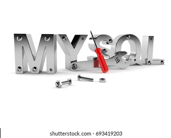 MYSQL text with bolts and tools isolated on white background. 3d illustration