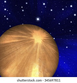 mysterious alien planet on the blue starry space background