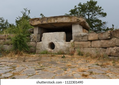 Mysterious ancient dolmen in the mountains Nexis near Gelendzhik, historical mystic relic