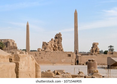 The mysterious architectural heritage of ancient Egypt - the giant obelisk, sculpture, monument devoted to old gods in the megalithic religious temple Karnak and Luxor in Egypt
