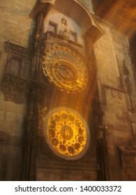 Mysterious astronomical clock in Prague city center