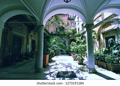 Mysterious atrium in Parione district of Rome, Italy