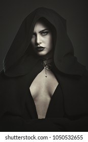 Mysterious beautiful vampire. Halloween portrait