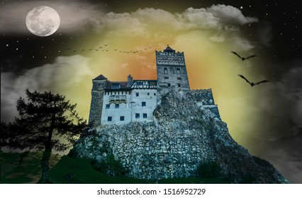 The mysterious castle of Dracula, between day and night, wrapped in fog. Birds and bats crossed the night sky Night with the full moonand many stars. The sun sets behind the castle.