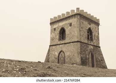 Mysterious Castle in fog, sepia