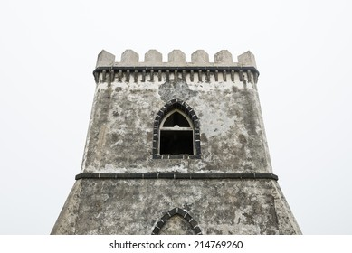 Mysterious Castle Tower in fog