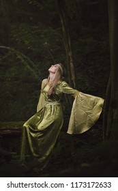 Mysterious celtic woman in the forest . Fairy and fantasy photo