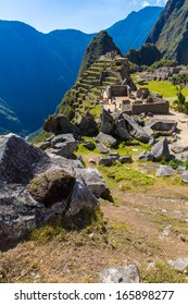 Mysterious city - Machu Picchu, Peru,South America. The Incan ruins and terrace. Example of  polygonal masonry and skill