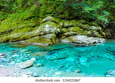 a mysterious color born from the miraculously clear river in Japan.