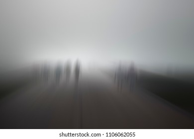 Mysterious creepy blurred group of pe0ple