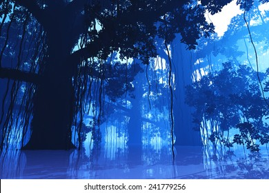 Mysterious Deep Jungle in the Dark at Night 3D artwork