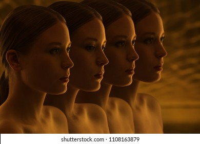 Mysterious faces of girls. Doubts and reflections. Dark group portrait. Replicants or clones