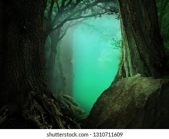 Mysterious fantasy forest landscape with light blue transparent haze on a background