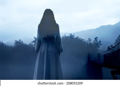 Mysterious Female Ghost in White Dress