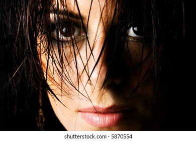 Mysterious female with wet hair