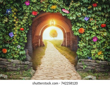 Mysterious gate entrance in paradise.  New life or beginning concept