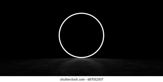 Mysterious glowing circle in a dark space. 3D Render