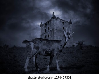 Mysterious goat against a medieval background
