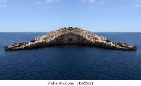 the mysterious Island, Geometric composition of surrealistic landscapes of Ibiza, Balearic Islands, Spain, Phantom island, surreal island, treasure island,