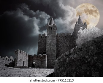 Mysterious medieval castle in a cloudy full moon night.