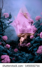 mysterious mermaid in a short wet pink dress lies on the cold ground, a girl in a bright dress sleeps in thick bush of roses, the fairy enchanted by the magic white fog in the forest, frosty morning