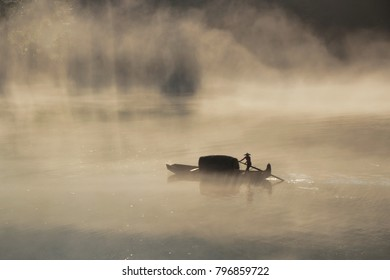 mysterious mist fishman in the river china