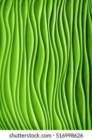 Mysterious modern fancy kelp template aqua bend shape plain with soft shadow. Beautiful vibrant irish mint lime paint color artsy gesso emboss build parget fond. View closeup with space for text